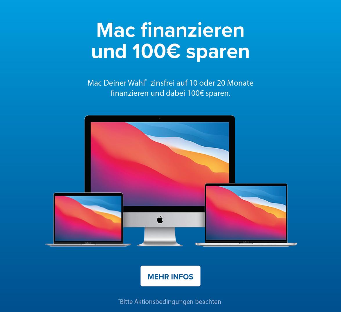 100€ sparen bei Finanzierung eines Mac