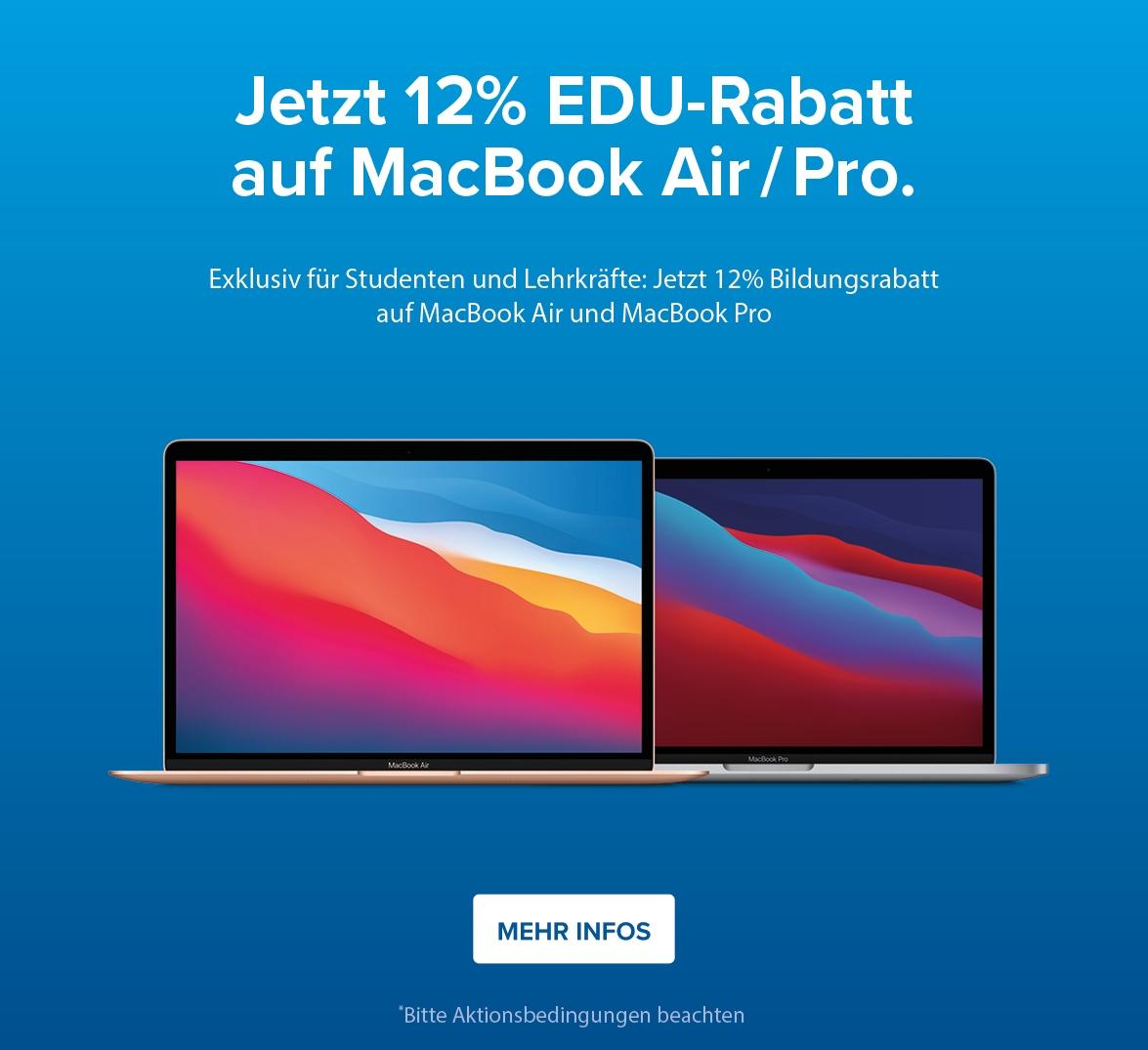 12% Bildungsrabatt auf MacBook Air / Pro